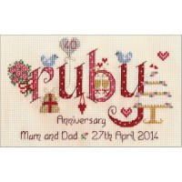 Ruby Anniversary counted cross stitch chart