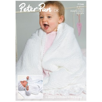 Matinee Coat, Angel Top, Bonnet, Mittens, Bootees and Shawl in Peter Pan DK