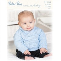 Sweater with Shawl Collar and Hat in Peter Pan Merino Baby DK