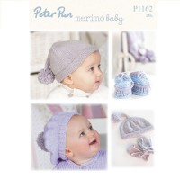 Accessories - Pixie Hat, Scarf and Mitts, Bootees, Beret, Bobble Hat in Peter Pan Merino Baby DK