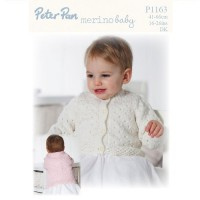 Lacy Round and V Neck Cardigan pattern in Peter Pan Merino Baby DK